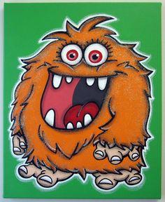 Items similar to the EX - original painting on canvas, monster art, monster wall art, monster decor on Etsy Doodle Monster, Monster Face, Painting For Kids, Art For Kids, Monster Theme Classroom, Painted Rocks Craft, Art Projects For Teens, Sharpie Art, Baby Art