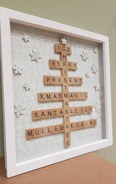 Large Christmas Tree Design Scrabble Frame