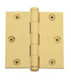 "Baldwin 1035.I 3.5"" x 3.5"" Solid Brass Square Corner Plain Bearing Mortise Hinge Polished Brass Door Hinge Plain Bearing 3 1/2 x 3 1/2"
