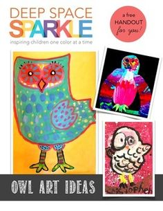 Every kid loves to draw owls. This drawing guide will give you lots of ideas for developing future owl art project with your students. My second and third graders loved using these owl ideas to help with their projects. They also make a great coloring page for free choice activities.About Deep Space SparkleThanks so much for downloading a Deep Space Sparkle free art resource.
