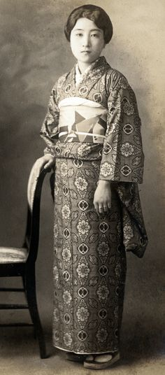 Portrait of a woman in kimono. 1920's or 30's, Japan.