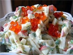 Salad with corn and squid. Recipes with photos. Pasta Dinner Recipes, Easy Pasta Recipes, Easy Healthy Recipes, Salad Recipes, Best Fish Recipes, Whole Food Recipes, Cooking Recipes, Amazing Recipes, Best Pasta Salad