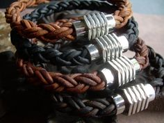 Mens Thick Braided Leather Bracelet with a Large Stainless Steel Magnetic Clasp | urbansurvivalgearjewelry - Jewelry on