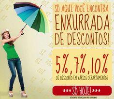10% em Cama e Banho, Móveis, Colchões, Fitness e Utilidades domésticas. 7% em Eletroportáteis e 5% em Eletrodomésticos.