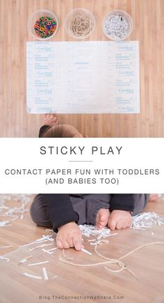 Easy play for babies and toddlers using contact paper and things found in your house.