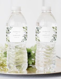 Dusty blue florals and eucalyptus leaves in shades of green. greenery wedding water Bottle Labels favors, cheap simple wedding favors for outdoor wedding Outdoor Wedding Favors, Outdoor Bridal Showers, Diy Outdoor Weddings, Wedding Shower Favors, Beach Wedding Favors, Wedding Labels, Wedding Favors For Guests, Bridal Shower Gifts, Simple Weddings