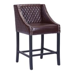 Santa Ana Counter Chair Brown. Santa Ana Counter chair features an amble size seat with plush quilted leatherette fabric upholstered to stylish wing-back style design and is accented by vintage nail head details. Frame is made from wood and finished with dark oak stain.
