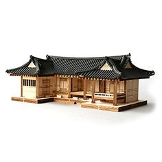 Digeut Shape Hanok Korean Tile Roof traditional house model kit is fun way to learn about a Korean traditional house layout. A great gift for family and friends Japanese Style House, Traditional Japanese House, Korean Traditional, Roof Styles, House Styles, Interior Flat, Green Roof System, Wooden Model Kits, Fibreglass Roof