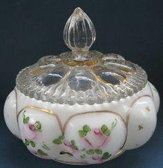 Fenton Melon Form Hand Paint Powder Jar Milk Glass Roses Gold Vintage