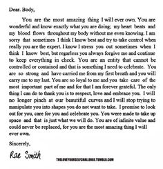 Read this and then write your own!   Love letter to your body