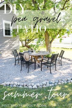 I am so excited to be giving you guys a tour of our DIY Pea Gravel Patio!
