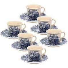 Conjunto com 6 Xícaras de Chá 200ml com Pires - Mail Order Cena Inglesa - Biona