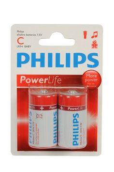 2-Pack Philips Power Alkaline Batterijen (C LR14-Baby 1.5V)