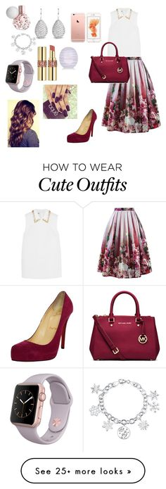 """Cute church outfit"" by pysaralina on Polyvore featuring мода, Disney, Miu Miu, Chicwish, MICHAEL Michael Kors, Yves Saint Laurent, River Island, Christian Louboutin, women's clothing и women"