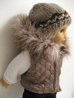 American Girl Doll clothes  Quilted Vest/Hat by 123MULBERRYSTREET