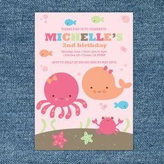 Under the Sea Girl Birthday Party  Printable by stockberrystudio, $10.00
