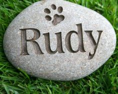 Personalized Pet Memorial Stone on Natural River Rock