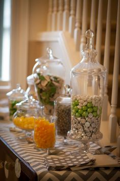 Gender Neutral Baby Shower Decor:   baby shower candy station / glass jars
