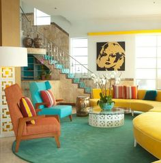 Nice Retro home decor ideas - Positively awesome decorating suggestions. retro home decor shabby chic wonderful example reference 8788143017 generated on this day 20190615 Retro Living Rooms, Colourful Living Room, Mid Century Modern Living Room, Mid Century Modern Decor, Living Room Modern, Mid Century Design, Living Room Designs, 1970s Living Room, Mod Living Room