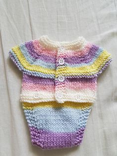 Free Knitting Pattern for All-in-One Onesie -Baby onesie with front fastening for ease. Designed by marianna mel. Pictured project by Sizes small, medium, large preemie. Baby Boy Knitting Patterns Free, Baby Cardigan Knitting Pattern, Knitted Romper, Knitting For Charity, Knitting For Kids, Free Knitting, Small Knitting Projects, Beginner Knitting, Yarn Projects