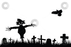Halloween silhouette  stock vector clipart, Halloween theme silhouette, scarecrow in graveyard by Mtkang