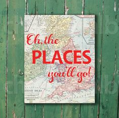 Oh the places you'll go Dr. Seuss vintage map print art red nursery baby kid children travel world decor by CheekyAlbi, $15.00
