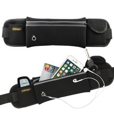 Aidonger Waist Belt Bag Waterproof Sports Waist Pack (Black). WITH THIS AIDONGER WAIST BAG ENJOY YOUR OUTDOOR OR GYM ACTIVITIES WITH YOUR HANDS FREE! Put your phone, keys, cards in the belt's pockets and forget about them. Concentrate on Your Running! Our runners waist pack is made of WATERPROOF Nylon material with SPECIAL-SHAPED WATERPROOF ZIPPER to prevent ingress of water. WITH OUR AIDONGER WAIST BAG HAS MORE FUN DURING YOUR ACTIVITIES WITH THE BEST FITNESS BELT. With special earphones...