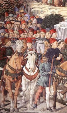 Benozzo Gozzoli - Procession of the Youngest King (detail). Дворец Медичи-Риккарди (Флоренция) - Часовня волхвов. Беноццо Гоццоли. (1420-1497). Шествие самого молодого короля (деталь).