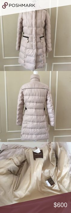 "Moncler Coat Moncler long down coat 100% authentic. Bought in Boston. I live in Tx now and have no need for it. It is a fabulous classic coat. Size 1 (S). With pockets trimmed in leather, leather trim on shoulder area and along back.            Pit to pit 19"", waist 36, hips 46"". 35"" in length from shoulder. In excellent condition. Any questions or additional pictures that you may need, please ask. I am open to reasonable offers. No trades please. Not eligible for bundle discount. Moncler…"