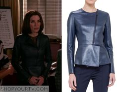 The Good Wife: Season 7 Episode 9 Alicia's Blue Peplum Leather Jacket