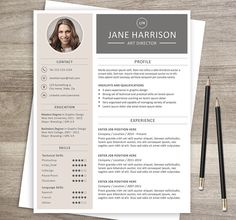 Resume template + cover letter. A4 and US letter size, Word and PSD formats.