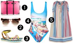 «Candy», Globe-Trotter // Sun glasses, Thierry Lasry // Sandals, Sophia Webster // Swimsuit, Orlebar Brown // Dress, Chloé