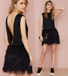 2016 Sexy Black Feather Cocktail Party Dresses A Line Jewel Backless Mini Length Short Dresses For Party Evening Gowns Vestido De Festa Feather Cocktail Dresses Short Party Gowns 2016 Cocktail Dresses Online with $152.0/Piece on In_marry's Store | DHgate.com