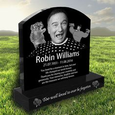 Robin Williams laser etched black granite headstone designed by Forever Shining Cemetery Monuments, Cemetery Statues, Cemetery Headstones, Old Cemeteries, Cemetery Art, Graveyards, Tombstone Epitaphs, Tombstone Quotes, Unusual Headstones