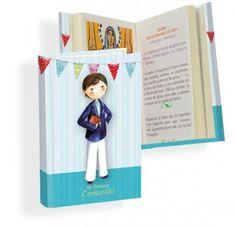 Misal Primera Comunión niño sweet  Libros para Primera ComuniónMisal de Primera Comunión, con dibujo de niño con traje de comunion, biblia en la mano y banderines de colores como decoración.