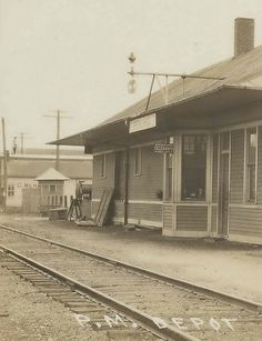 Former Pere Marquette Railroad Depot in Breckenridge, Michigan, c. 1908