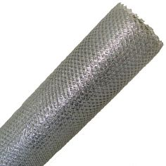 "Metallic Poly Mesh Ribbon Roll 20"" in width; 6 yards length Color: Silver Synthetic Material - open weave, diamond pattern"