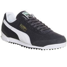 Puma Trimm Quick (€84) ❤ liked on Polyvore featuring shoes, navy grey white, trainers, unisex sports, genuine leather shoes, puma shoes, sport shoes, sports shoes and navy blue shoes