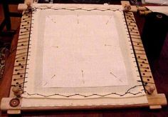 Dressing a Slate Frame (medieval embroidery)