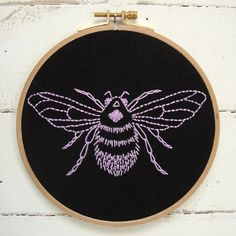 Im in love with this lilac bumblebee design on gorgeous natural linen. With this embroidery kit, you get to fall in love with it too. www.etsy.com/shop/iheartstitchart