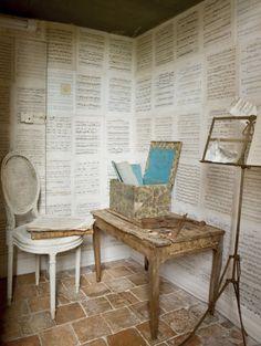 music room + love this walls + rustic look