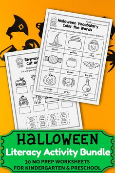 These kindergarten literacy worksheets for kindergarten were a great addition in my classroom. The set includes kindergarten sight words, cvc word worksheets, alphabet activities, and more. The kindergarten printables are so fun and include so many cute graphics, just like a game. The Halloween printables activities can be used during homeschool, or in the classroom for kindergarten and first grade students. #kindergartenclassroom #halloweenactivities Thanksgiving Worksheets, Halloween Worksheets, Halloween Math, Halloween Activities For Kids, Free Kindergarten Worksheets, Free Worksheets, Kindergarten Literacy, 1st Grade Activities, Alphabet Activities