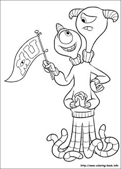 Monsters Inc University sully waving coloring page for kids