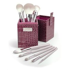 Royal & Langnickel Box Kits - Sassy. This kit comes in lovely lavender with two makeup artist favorites for a sculpted look--blush and contour brushes--all in a fun matching faux-crocodile case.