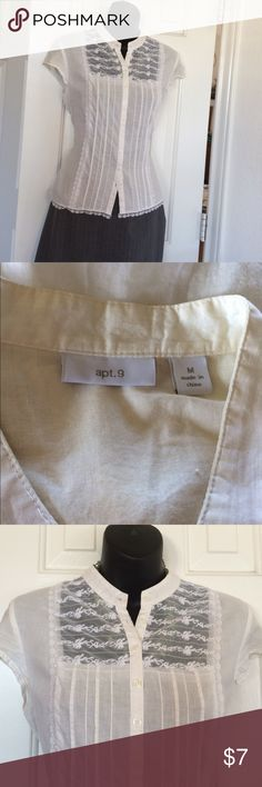 100% Cotton Vintage Inspired Size M Off White - PreLoved 100% Cotton Pintucked Top bundle and save!  30% off2 or more Apt. 9 Tops Button Down Shirts