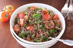 """Red and Black Quinoa Tabbouleh     Recipe and Photo Courtesy of The Iron You The Iron You comes from Mike and Margherita's love for both the eponymous superhero and the grueling Ironman triathlon. Self-described as """"very active and curious people,"""" the two are bona fide athletes who strive for healthy recipes and plenty of exercise. Visit the duo's blog The Iron You to learn more. Adapted from Ottolenghi: The Cookbook Serves 4    Ingredients •   1 cup red quinoa •   1 ½ cup water  •…"""