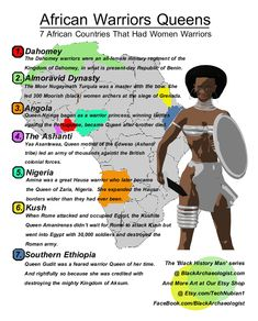 History Discover African Warrior Queens 7 African Countries That Had Women Warriors. InfoGraphic depicting warrior women in countries like Dahomey, Kush, Nigeria and others.
