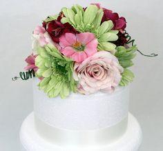 Wedding Cake Topper - Pink Rose, Green Gerbera Silk Flower Cake Topper, Floral Cake Topper