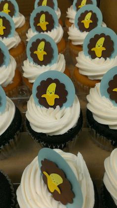 Monkey theme baby shower Cupcake toppers made with Create a Critter Cricut cartridge and paper punches