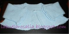 Hand made short jacket in pale blue knitted. Halve lengh sleeve. Price: 30 €, shipping not included.